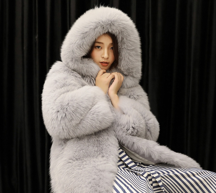Hooded Fox Fur Long Coat 323-2