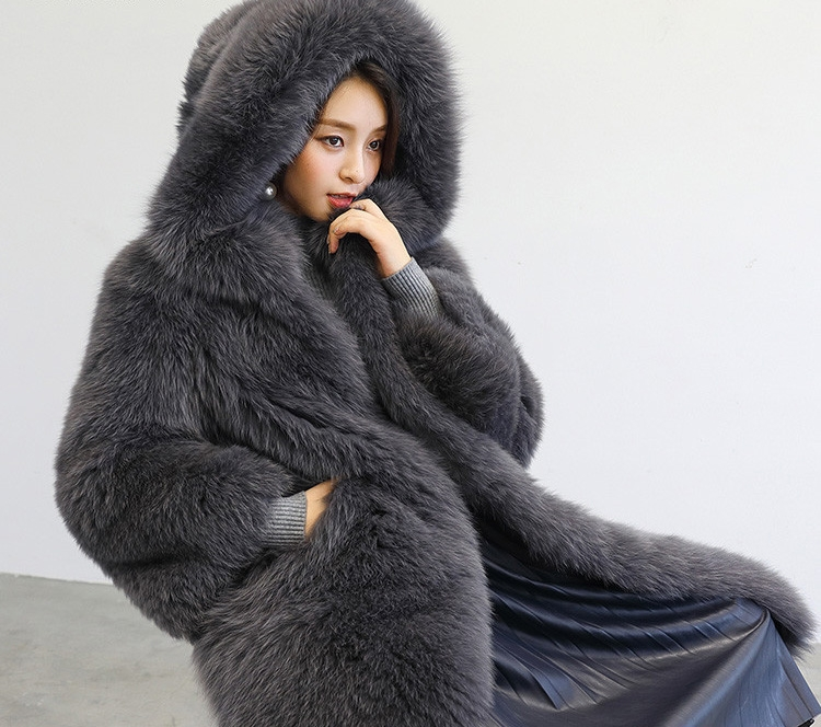 Hooded Fox Fur Long Coat 323-3