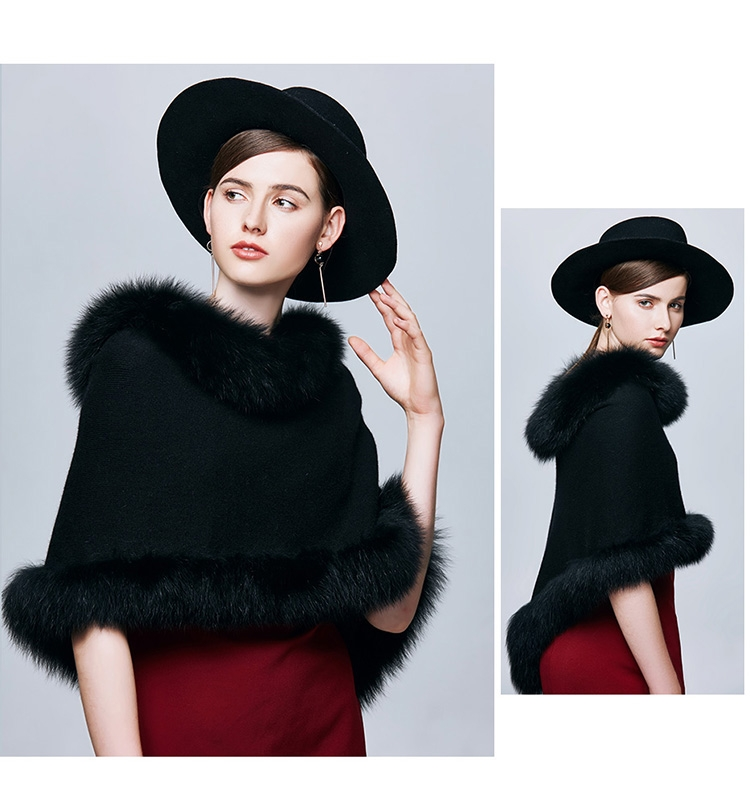 Fox Fur Trimmed Capelet 332-4
