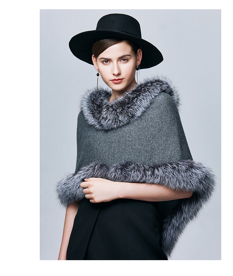 Fox Fur Trimmed Capelet 332-5