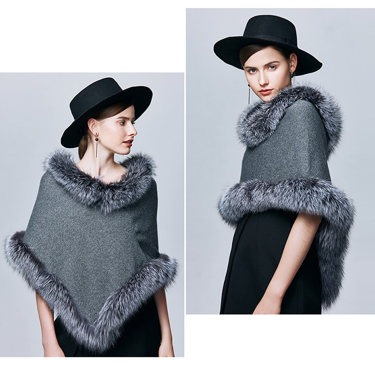 Fox Fur Trimmed Capelet 332-6