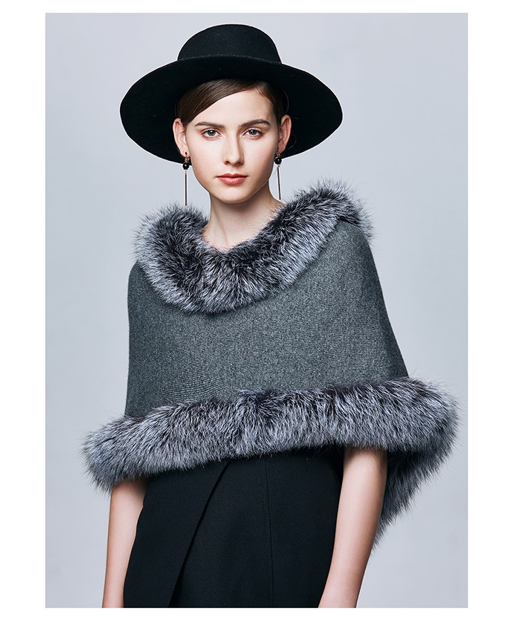 Fox Fur Trimmed Capelet 332-7