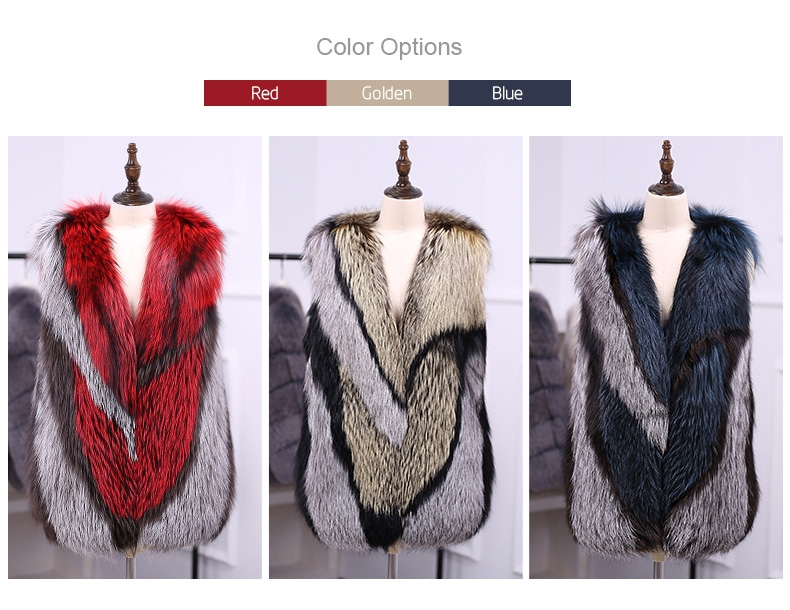Multicolored Silver Fox Fur Vest 333-1