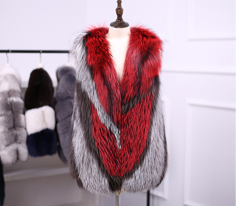 Multicolored Silver Fox Fur Vest 333-2