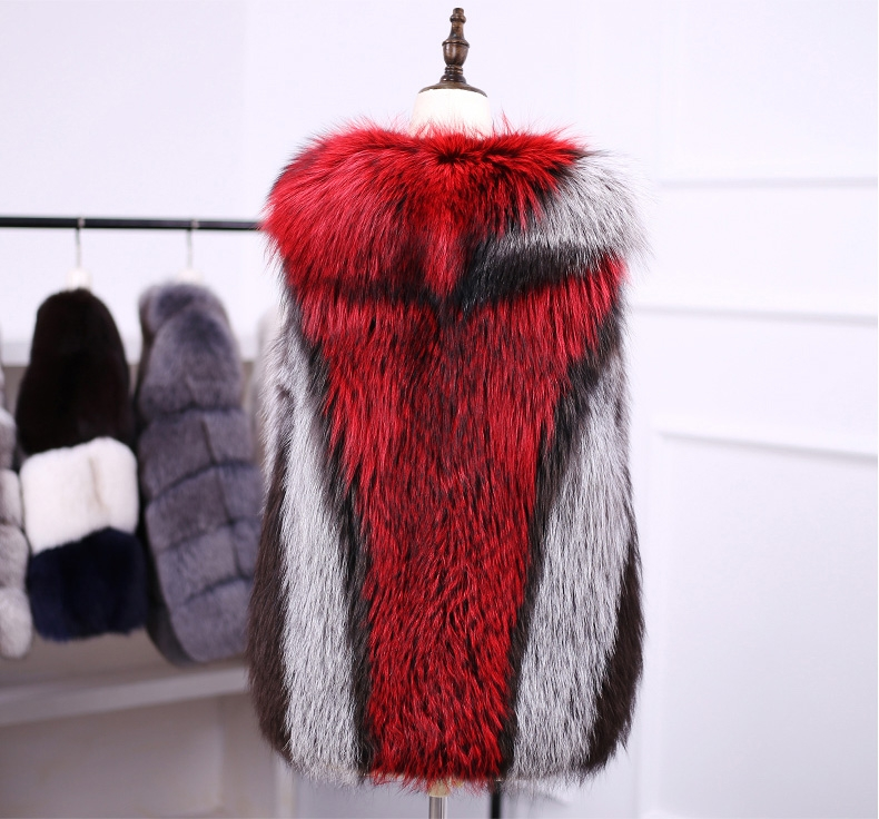 Multicolored Silver Fox Fur Vest 333-3