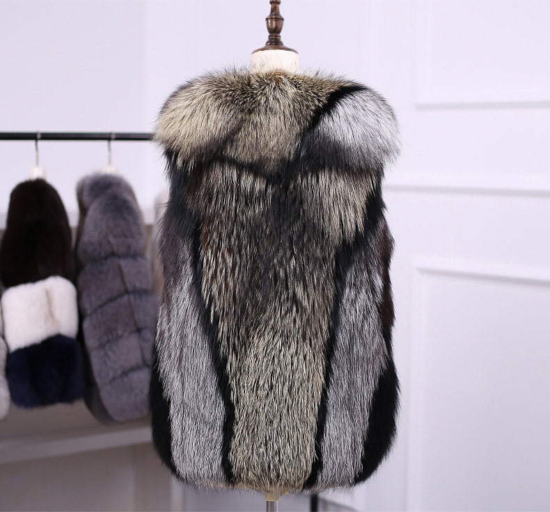 Multicolored Silver Fox Fur Vest 333-5