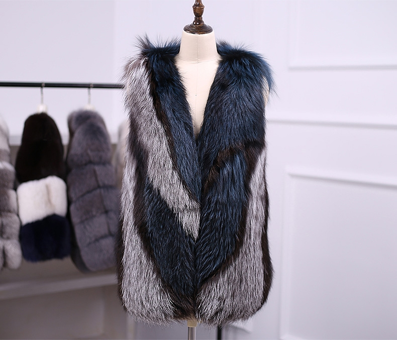 Multicolored Silver Fox Fur Vest 333-6
