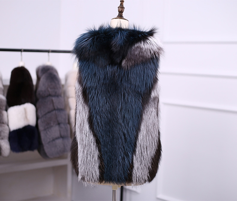 Multicolored Silver Fox Fur Vest 333-7