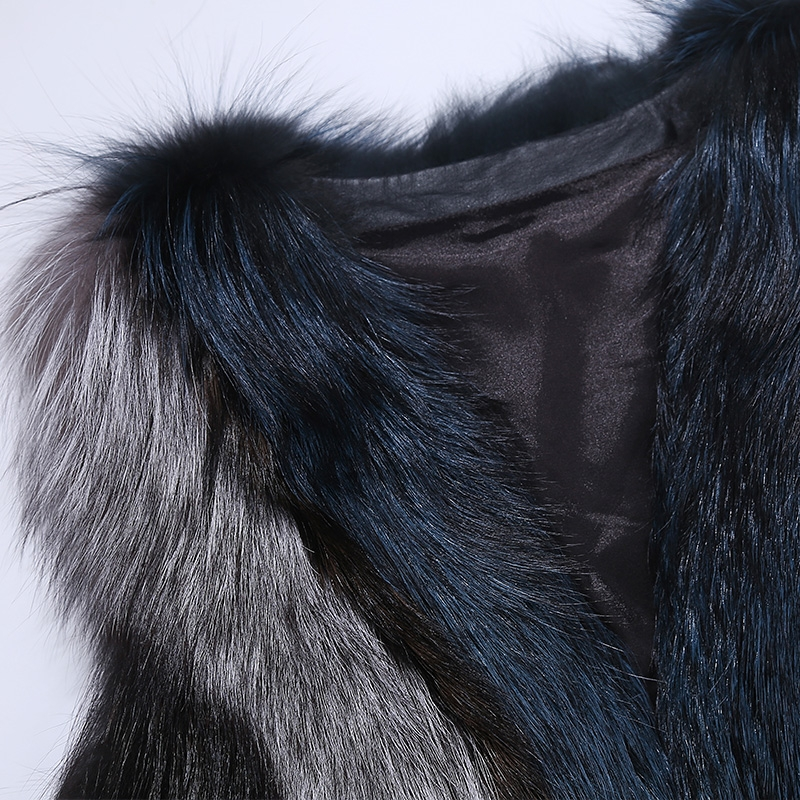 Multicolored Silver Fox Fur Vest 333-8