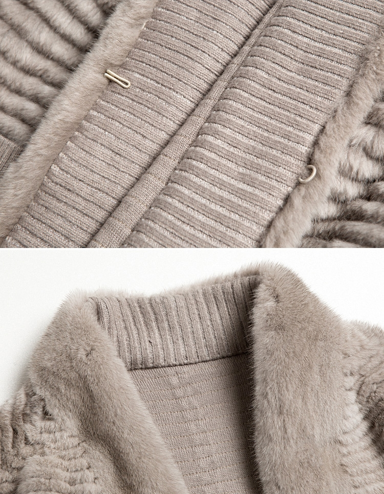 Mink Fur Woollen Knitted Cardigan 334-6