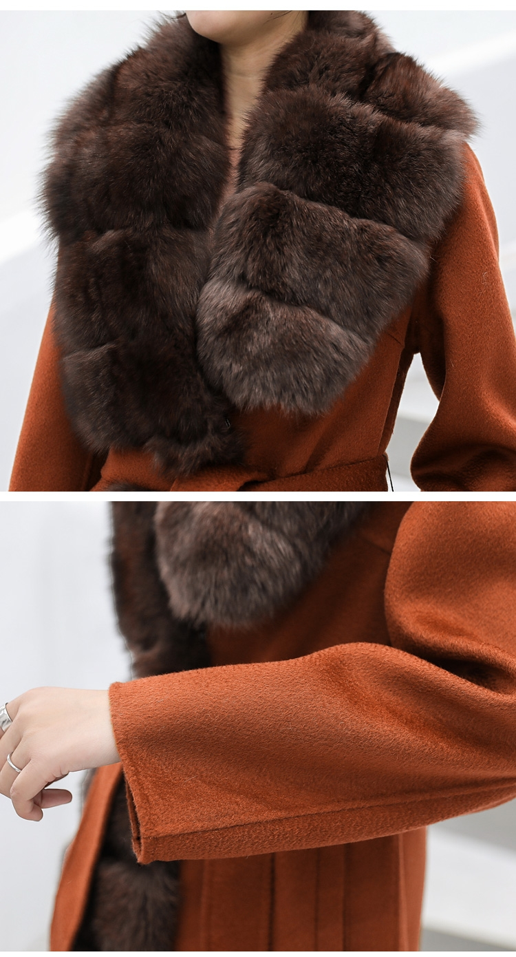 Fox Fur Trimmed Cashmere Long Belted  Coat 336-1