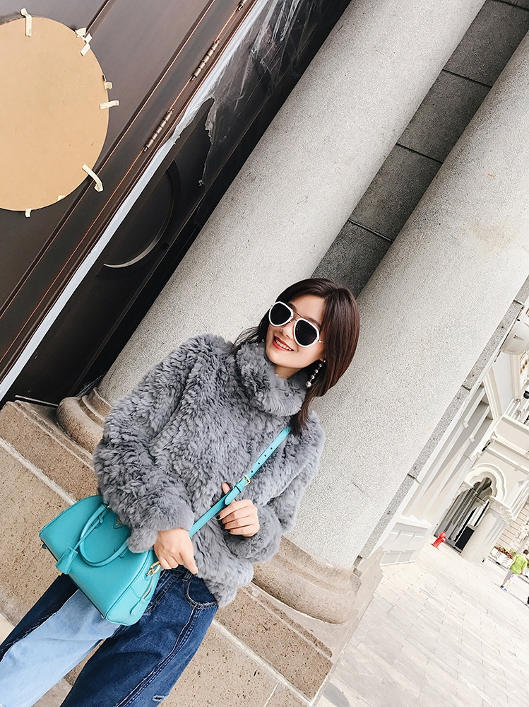 Rex Rabbit Fur Knitted Pullover Sweater Jacket 343-1