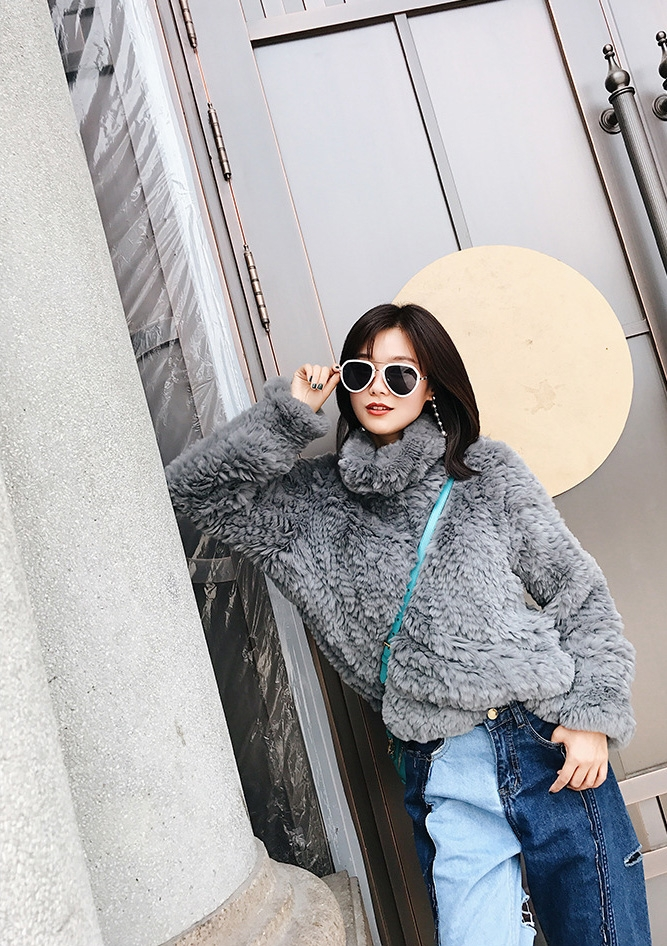 Rex Rabbit Fur Knitted Pullover Sweater Jacket 343-2