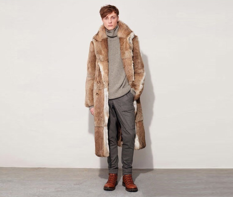 Men's Rabbit Fur Coat 348-1