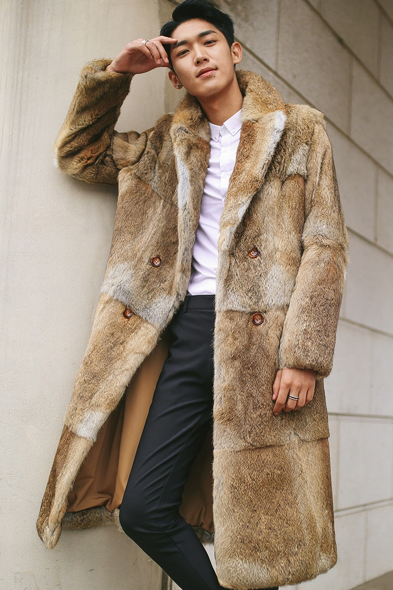 Men's Rabbit Fur Coat 348-2