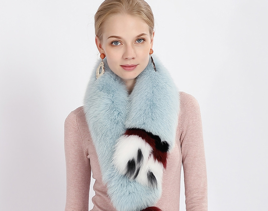 Tailed Fox Fur Scarf 367-1