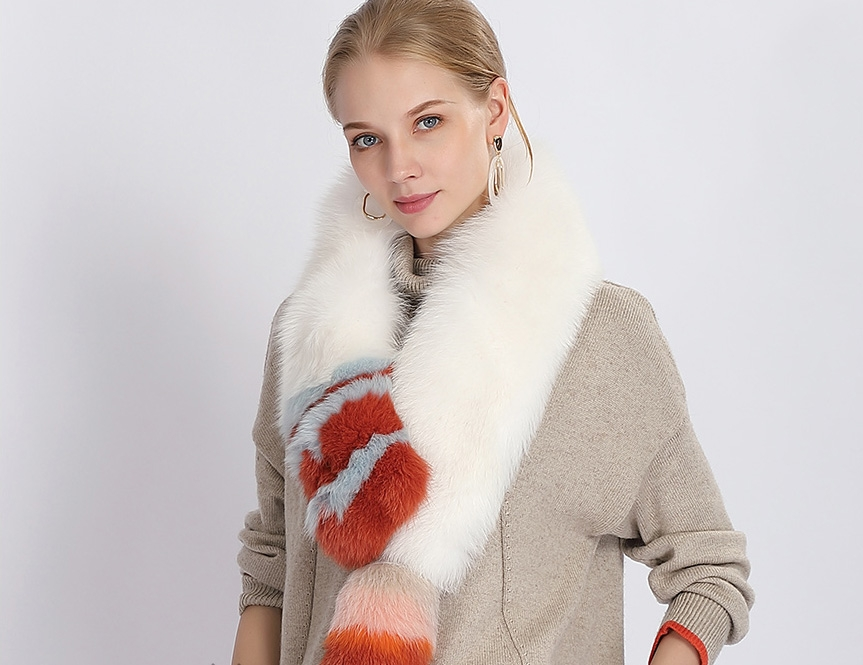 Tailed Fox Fur Scarf 367-2