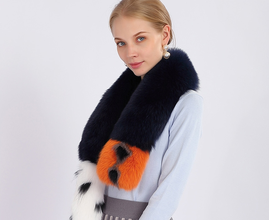 Tailed Fox Fur Scarf 367-3