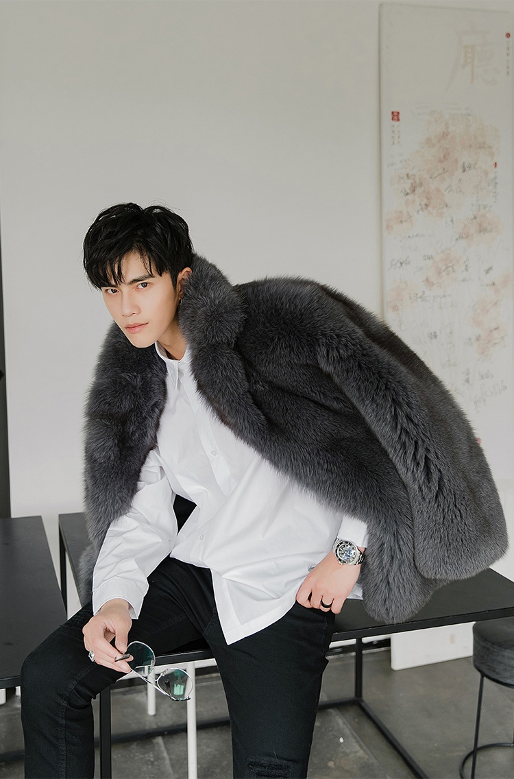 Men's Fox Fur Coat 379-11