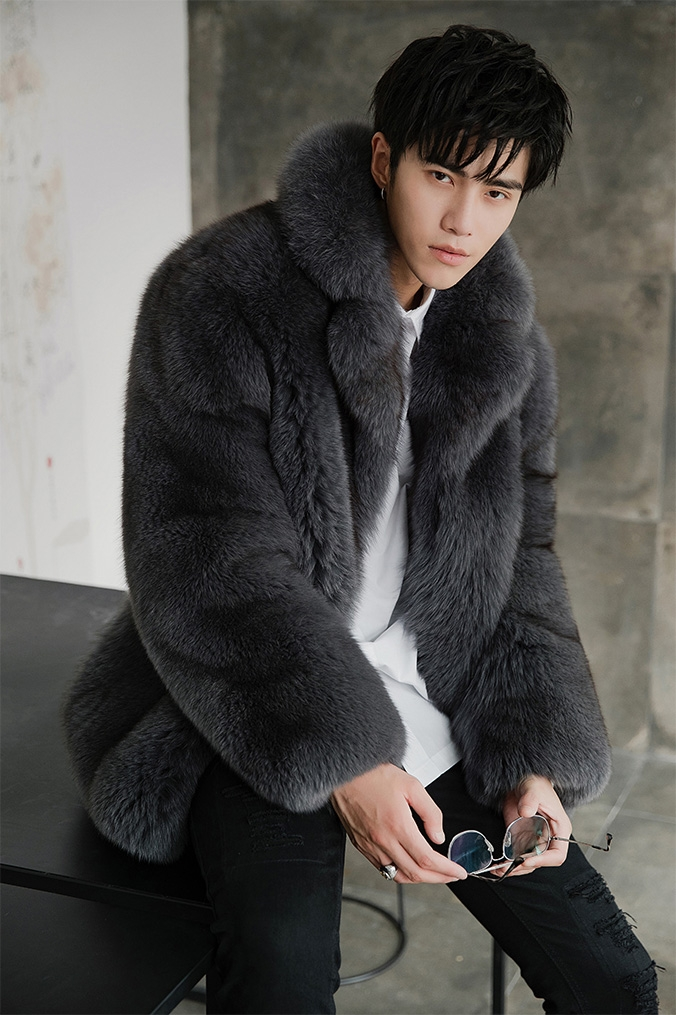 Men's Fox Fur Coat 379-7