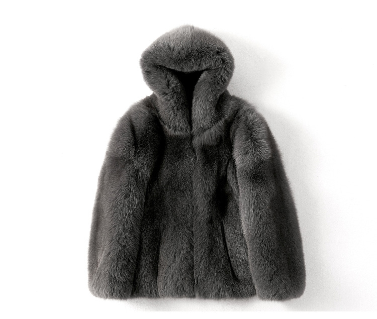 Men's Fox Fur Hooded Coat 381-1