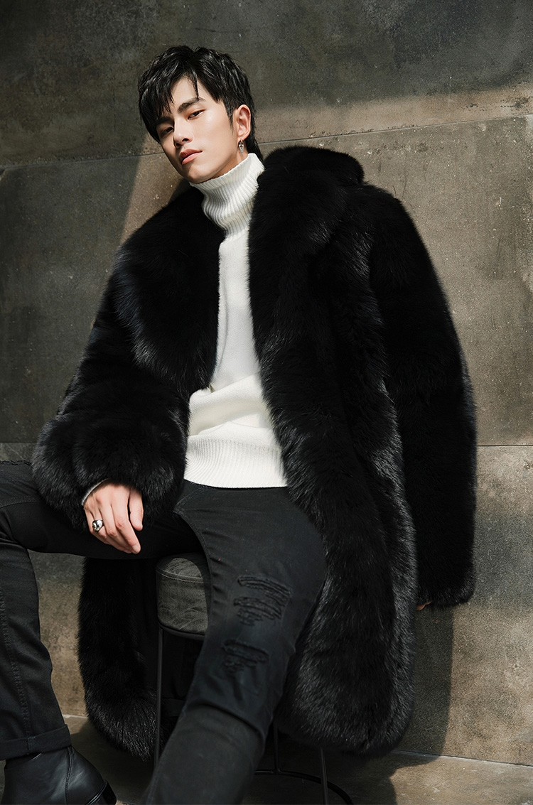 Men's Fox Fur Black Long Coat 382-1