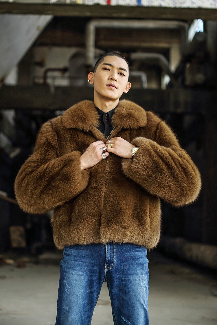 Men's Fox Fur Bomber Jacket 387-1
