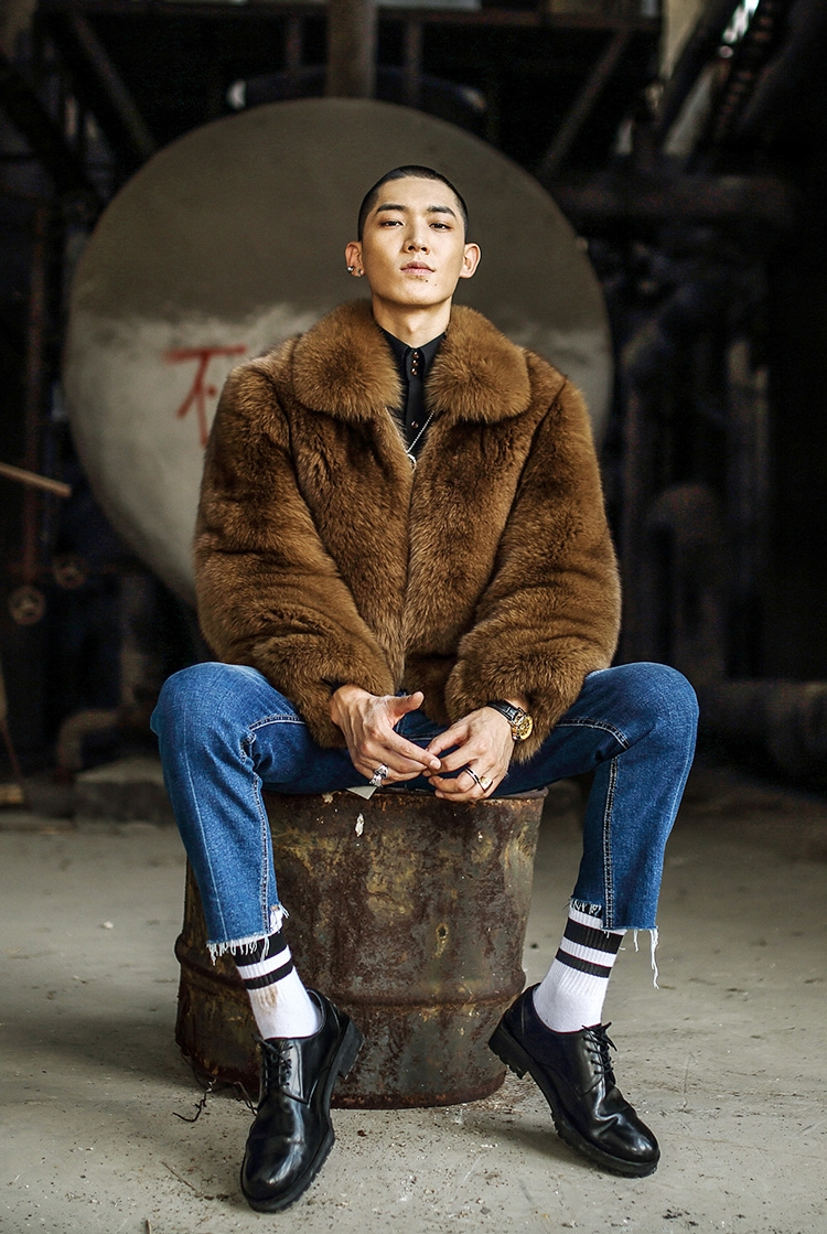 Men's Fox Fur Bomber Jacket 387-2