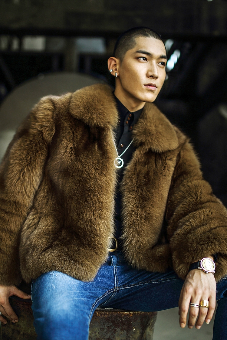 Men's Fox Fur Bomber Jacket 387-3