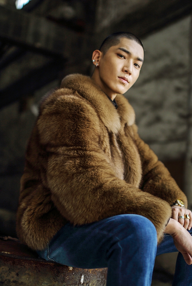 Men's Fox Fur Bomber Jacket 387-4