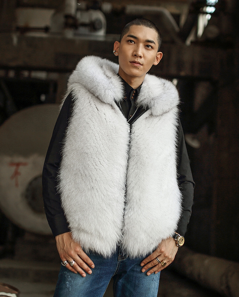 Hooded Men's Fox Fur Vest 389-3
