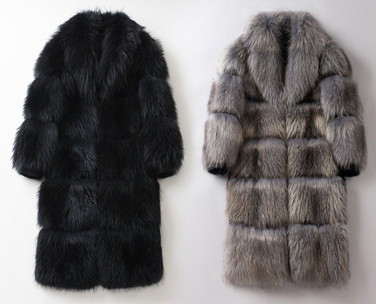 Men's Raccoon Fur Long Coat 399-1