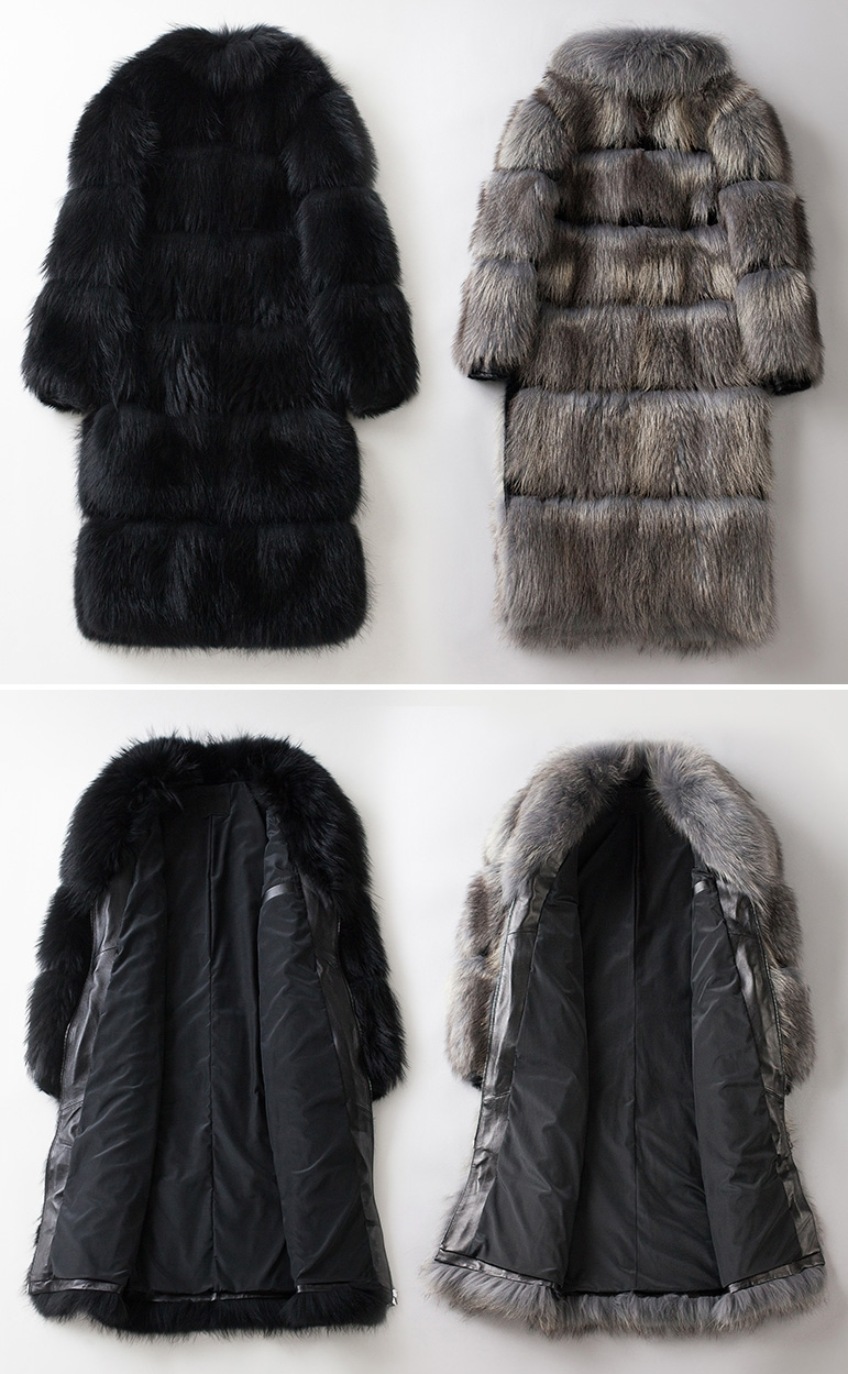 Men's Raccoon Fur Long Coat 399-2