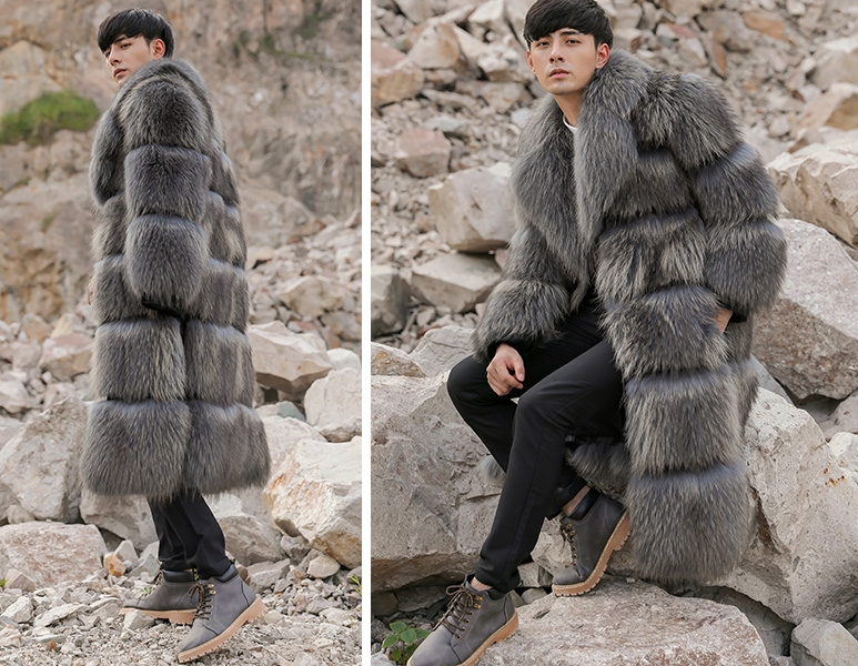 Men's Raccoon Fur Long Coat 399-6