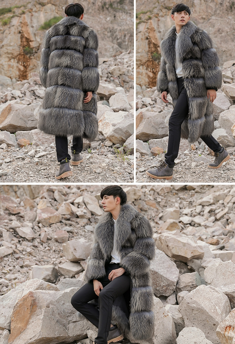 Men's Raccoon Fur Long Coat 399-7
