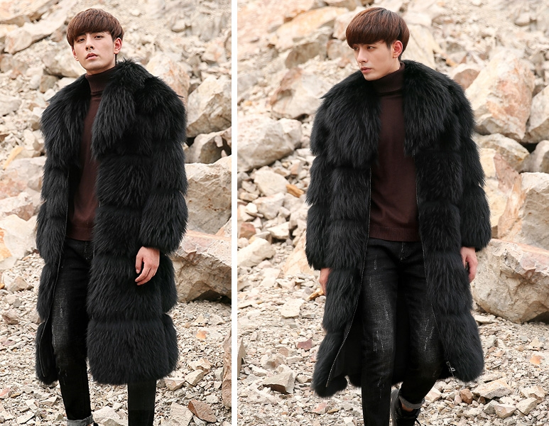 Men's Raccoon Fur Long Coat 399-8