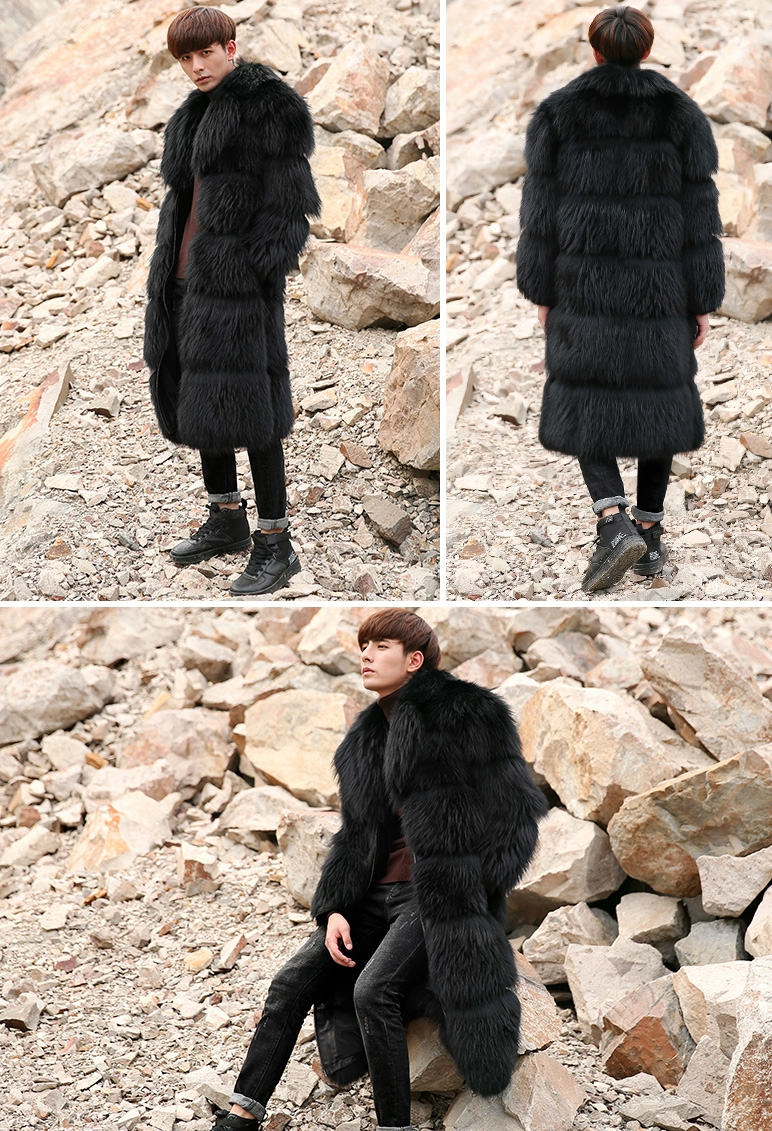 Men's Raccoon Fur Long Coat 399-9