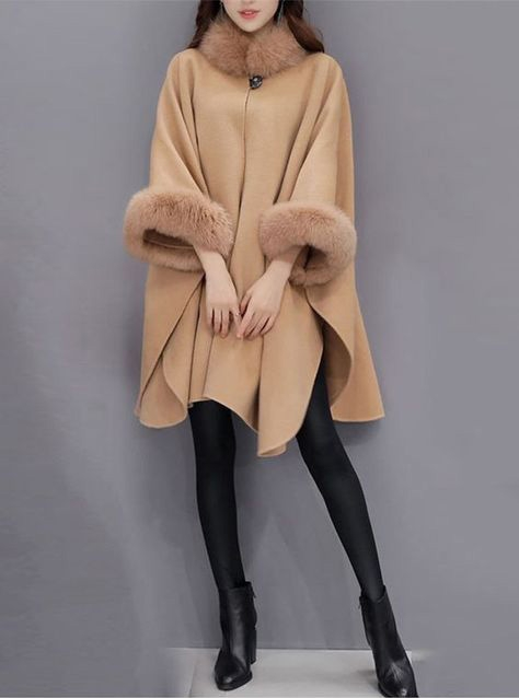 Cashmere Cape with Fox Fur Trim 827c-1