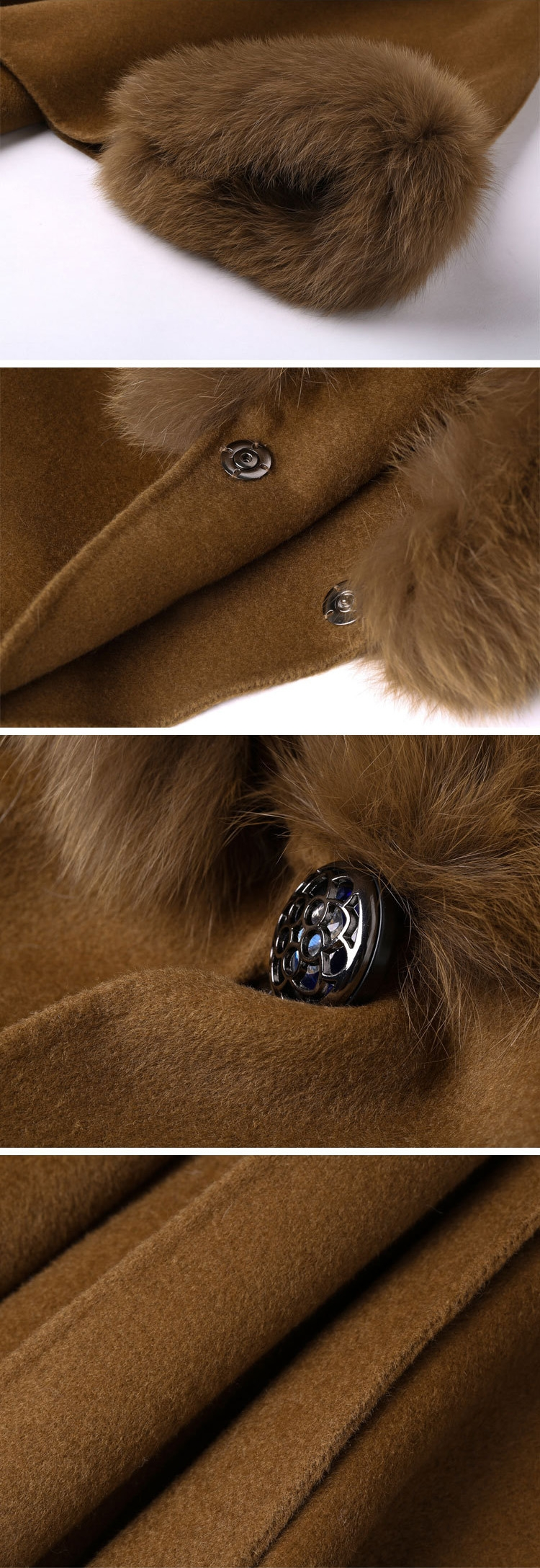 Cashmere Cape with Fox Fur Trim 827e-2