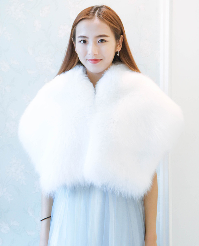 Fox Fur Capelet 882 White Details 2