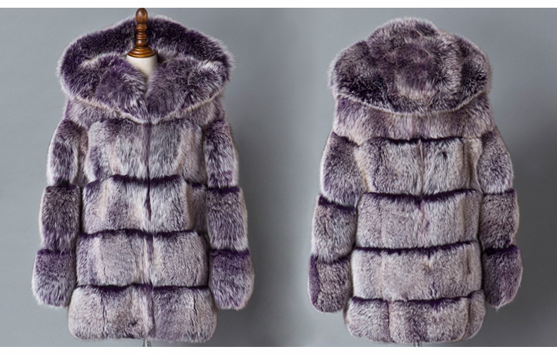 Hooded Fox Fur Coat 918A Details 1