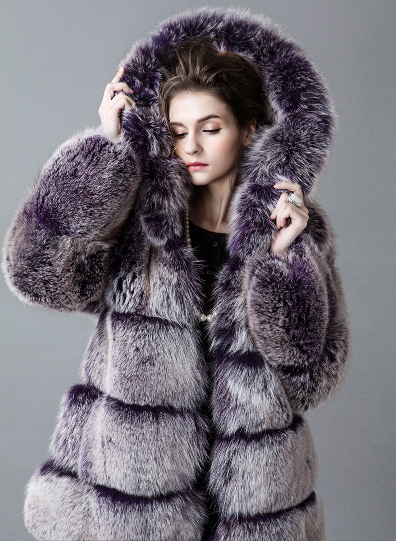 Hooded Fox Fur Coat 918A Details 2