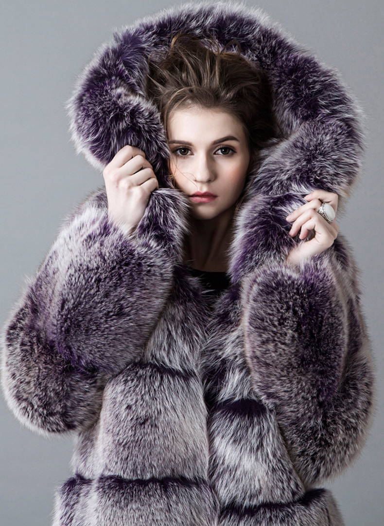 Hooded Fox Fur Coat 918A Details 3