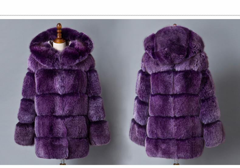 Hooded Fox Fur Coat 918B Details 1