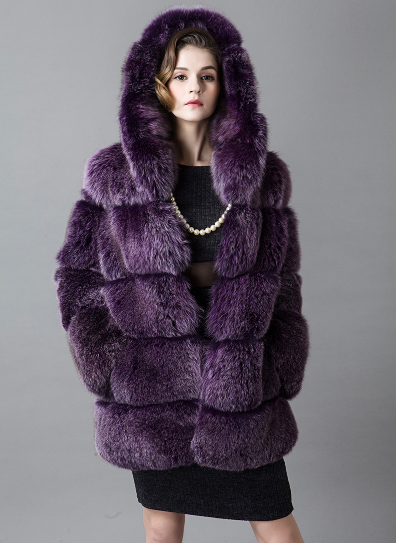 Hooded Fox Fur Coat 918B Details 3