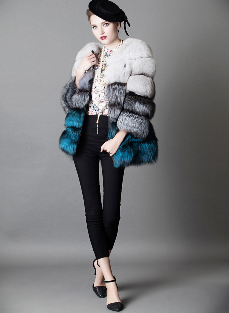 Multicolored Fox Fur Jacket 919 Details 2