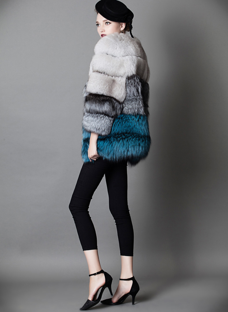 Multicolored Fox Fur Jacket 919 Details 3