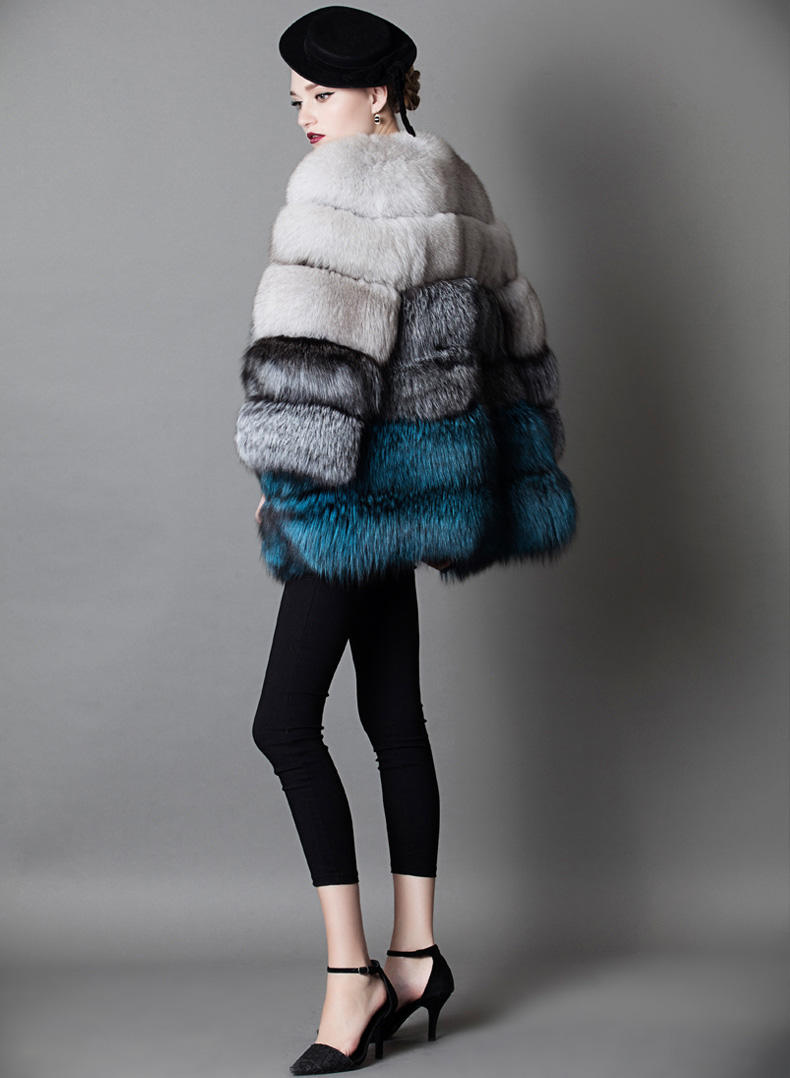 Multicolored Fox Fur Jacket 919 Details 4