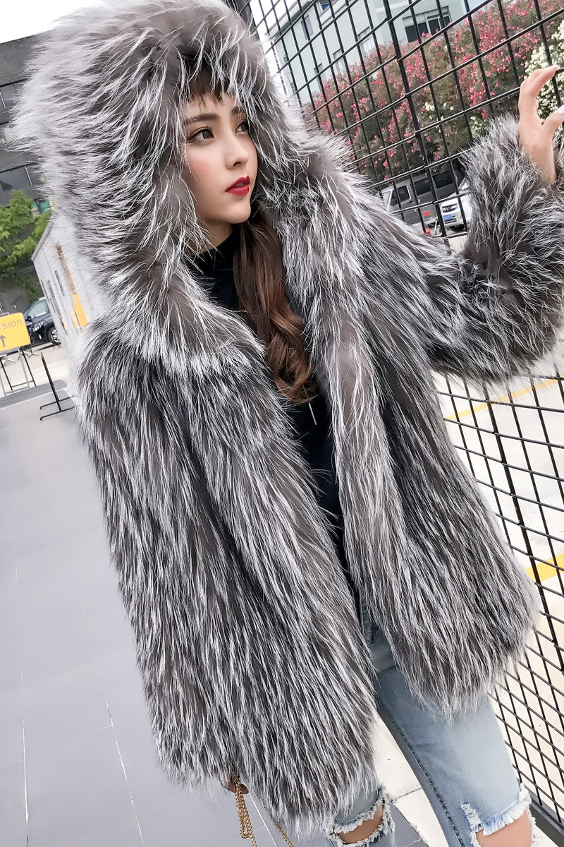 Hooded Knitted Silver Fox Fur Jacket 926 Details 0