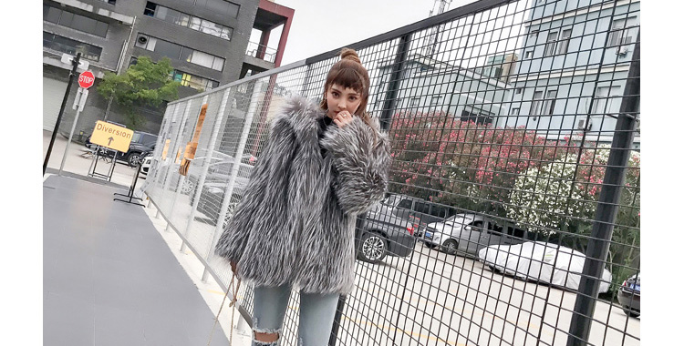 Hooded Knitted Silver Fox Fur Jacket 926 Details 1